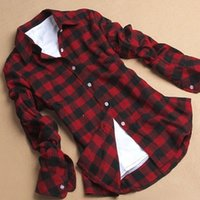 Cheap Autumn Winter Hot Plus Size XXL Casual Plaid Shirt Women Lapel Checked Flannel Long Sleeve Blouse Ladies Tops Vetement Femme BZD