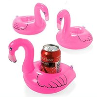 Wholesale High qualiy Mini Cute Flamingo Drink Can Holder PVC Inflatable Floating Swimming Pool Bathing Beach Party Kids Toy Bath Toy