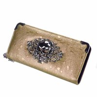 skull purses - Exclusive Designer Women Skull Raindrops Cool Purse Long Ladies Personalized Wallet Shine Clutch Bags Card Holder