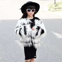 Wholesale 2015 NEW Kid s Children Black And White Hairy Shaggy Faux Fox Fur Girls Cardigan Long Trench Coat Outerwear SUPER QUALITY