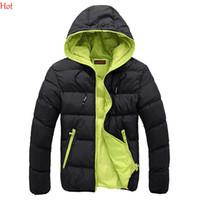 coat zippers - Mens Winter Cotton Down Coats Plus Size Fashion Man Clothing Hooded Coat Parka Casual Outwear Jackets Black Blue Men Clothing SV028399