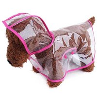 Wholesale New Pet Dog Cat Raincoat Clothes Puppy Transparent Hoody Waterproof Rain Jackets Pink and Blue color