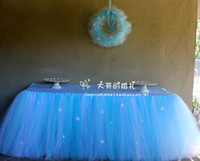 baby shower princess - Cheap Wedding Tulle Tutu Table Skirt Custom Made Color Size Blue Yellow Pink Purple Princess Baby Shower Birthday Party Table Skirt