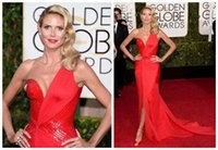 red tube sexy - Sexy Front Split Evening Dresses Heidi Klum One Shoulder Red Tube Golden Globe Awards Sweep Train Chiffon Mermaid Prom Gowns