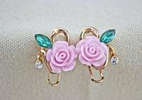 Wholesale Hot fashion rose gold Resin Flowers Diamond Geometric Earrings Stud Best Christmas gift Earrings For women