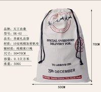 Wholesale 2016 Christmas Large Canvas Monogrammable Santa Claus Drawstring Bag With Reindeers Monogramable Christmas Gifts Sack Bags fast shipping