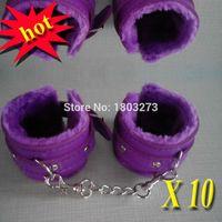 Cheap 10pcs lot couple flirt upscale Furry Handcuffs,Bondage Sex Furniture Sex toys XN0701