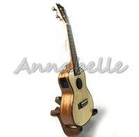 Wholesale Electric quot quot Concert Ukulele Hawaii Small Travel Guitar Uke four Strings Solid Top Spruce Mahogany Wood
