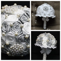 beautiful white roses - Beautiful White Silver Grey Rose Bridal Bouquet Wedding Accessories Brooch Crystal Pearls Beaded Wedding Bouquet Holding Flowers Cheap