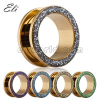 Wholesale Fashion Epoxy Glitter Screw Ear Tunnels Gauges Surgical Stainless Steel Flesh Tunnel Body jewelry mm