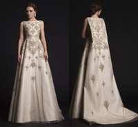 modern dresses - 2015 Spring Krikor Jabotian Beaded Wedding Dresses Scoop Embroidery A line Sweep Train Wedding Gowns Luxurious Bridal Gowns