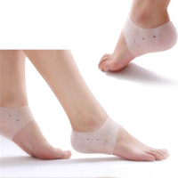 Wholesale TOP selling Heel Cracked Foot Care Protectors Tool Socks Silicone Moisturising Gel Socks with Small Holes Pair Foot Care Tool H12927