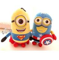 "Nueva subordinado 12 ""30cm o 20 '50cm secuaces Despicable Me Película Plush Toy Superman Capitán América Minions Peluches 3D ojos juega el envío libre"