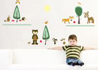Wholesale The new children s room decorative wall sticker combination of self adhesive stickers green small animal park JM8374