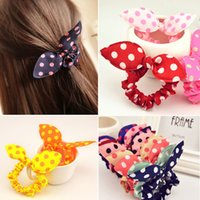 Wholesale Hot Sale New Fashion Lovely Cute Sweet Girl Polka Dot Elastic Hair Accessories Hairbands Rabbit ears hairwear Ponytail Holder Rubber Band