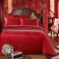 barcelona duvet set - 100 SILK Satin Embroidery Luxury bedding set duvet cover jacquard comforter set bed sheet Home textiles barcelona bedding set