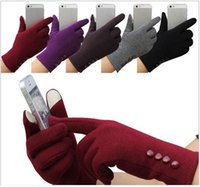 Wholesale 2016 Women girl five finger gloves support touch display screen function buttoms high quality full finger