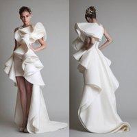 Cheap Hot Sale 2015 Ivory Fashion Party Dresses Hi Lo Ruffled Applique High Neck Dubai Arabic Bridal Gowns Pageant Prom Dress Custom Sheath Cheap
