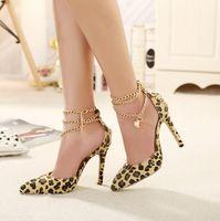 chain metal dress - Hot Sale Brand New Design leopard high heels super beautiful metal buckle Horsehair tip Head women shoe sapatos femininos