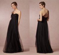 affordable modest dresses - Black Tulle Modest Bridesmaid Dresses One Shoulder A Line Sweep Train Affordable Groups Cheap Fashion Backless Bridal Party Gown Zipper