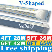 Wholesale V Shaped ft ft ft ft Cooler Door Led Lights Tubes T8 Integrated Led Tubes Double Sides SMD2835 Led Fluorescent Lights AC V