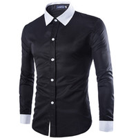 Cheap online wholesale tops tee mens clothes shirts 01 fashion formal dress long sleeve White black button up slim fit plus size Cotton silk cheap