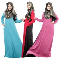 Wholesale Summer Muslim Dress Women Long sleeve Chiffon Maxi dress spell color loose Casual Long Indian dresses