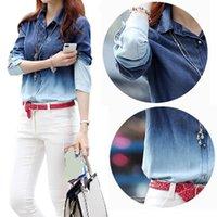 Cheap 2015 Women Blouse Hot Sale Fashion Denim Shirt Plus Size Blouse Blusinhas Camisa Jeans Feminina Blusa De Renda WCL190