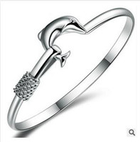 Wholesale 925 sterling silver dolphin bracelet fashion bangle plated for women best sell A