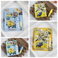 Wholesale Frozen Despicable Me Notebooks and Pens Set Cartoon Minions Princess Students Stationery School Supplies Children Kids Prize sets DHL