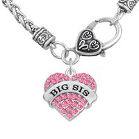 big east sports - Religious For Gift Sports Word BIG SIS Pendant Thick Necklaces Clear Heart Necklaces Crystal Heart Lobster Clasp Chains Jewelry