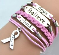 South American faith bracelet - Fashion Charms Believe Faith Hope Breast Cancer Awareness Bracelet European American Hot Retro Fashion Personality Bracelets Handmade