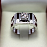 Wholesale 925 Sterling Silver Ring K Gold Plated Male Silver Diamond Simulation Ring With Man Domineering Personality