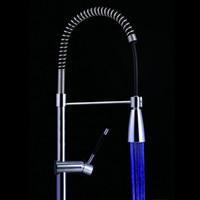 Wholesale 3 Color LED faucet Temperature Sensor Control LED Faucet Kitchen Tap Basin faucet light torneira cozinha grifos cocina