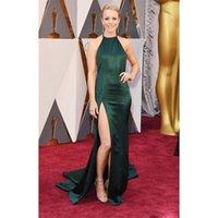 Wholesale Rachel Mcadams Red Carpet Dresses Oscar Fashion Dresses Halter Neck Green Split Front Formal Evening Celebrity Dresses RM01