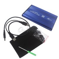 Wholesale Alluminum quot USB2 HDD Case Hard Drive Disk inch SATA External Storage Enclosure Box with Leather Protector Bag Blue