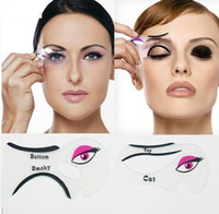 Wholesale DHL set Cat Eye Stencils Makeup Stencil Eyeline Models Template Eyeliner Card Auxiliary hot gilr Smoky eyeliner tool
