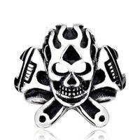 big cluster - NEW HOT FACTORY PRICE FASHION BIG SKULL STAINLESS STEEL BIKER UNIQUE PUNK RING FOR