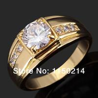 Wholesale Fashion Size Jewelry New Man s Breathtaking White Sapphire Cz K Yellow Gold Filled Wedding Ring Gift