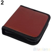 Wholesale 40Pcs CD VCD DVD Discs Faux Leather Organizer Holder Case Wallet Storage Bag VKX