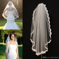 Wholesale Alencon Lace Veils fingertip With Comb veil re embroidered one layer bridal veil ivory lace veil scallop veil wedding bridal accessories