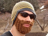 Wholesale Handmade Knitted Crochet Beard Hat balaclava Winter for Men Warm Bicycle Mask Ski Cap Roman knight Octopus Cool Funny Beanies Promotion