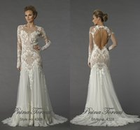 Wholesale 2016 Wedding Dresses Betra Bridal Full Sleeves Plus Size Sheer Crew Sexy Keyhole Back Mermaid Long Train Wedding Dresses Pnina Tronai Gowns