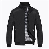 achat en gros de zip parkas d'hiver-Hommes Checker Outwear Coat Parka Slim Zip Up Trench Coats Vestes Casual Fashion Jacket veste d'hiver homme marque vêtements haute qualité s gratuit