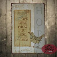 believe painting - Hope WILL GROW IF YOU BELIEVE Metal Painting Retro Wall Plaque Decor Pub Home Decoration Mix order CM