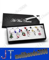 Wholesale 1 Box Mixed Christmas Wine Glass Charms Table Decorations W Box X mas Tree Stocking Wreath Snowmen Snowflake Candy Cane x25mm x25mm MYY