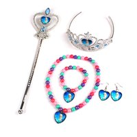 Wholesale Frozen Children Jewelry sets necklace bracelet earrings crown Magic wand frozen anna elsa Childrens Christmas Birthday Party Gifts