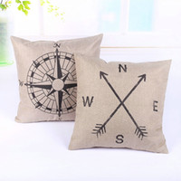 Wholesale Fashion Design Kid Gift Compass Pattern Sofa Cushion Cover Zipper Pillow Case Home Gift Vintage Pillow Shell Case cm cm inch