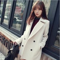 Wholesale 2015 Women Coat autumn and winter new Korean version was thin long section of double breasted wool coat woolen coat female