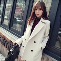 Cheap Women wool coat Best Lapel Neck Long Sleeve woolen coat